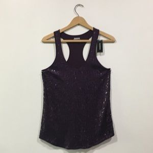 Express Tops - Purple Express Sequined Tank Top